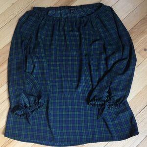 Talbots sheer plaid blouse